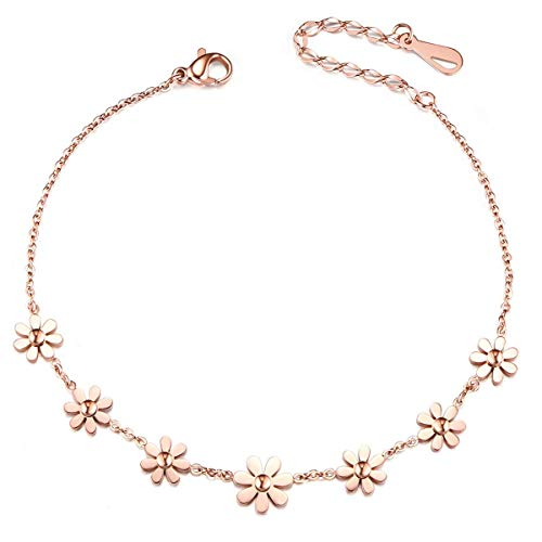 SHEGRACE Anklet Daisy Flowers Copper 210mm for Woman Jewellery Gift, Rose Gold