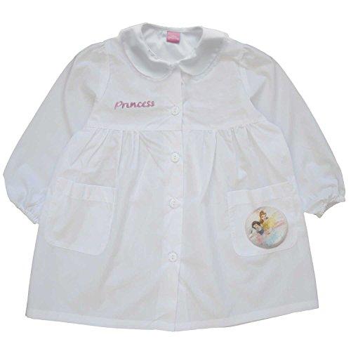 principesse grembiule scuola bimba elementare con bottoni disney nuova collezione art. G022 (bianco, 70)