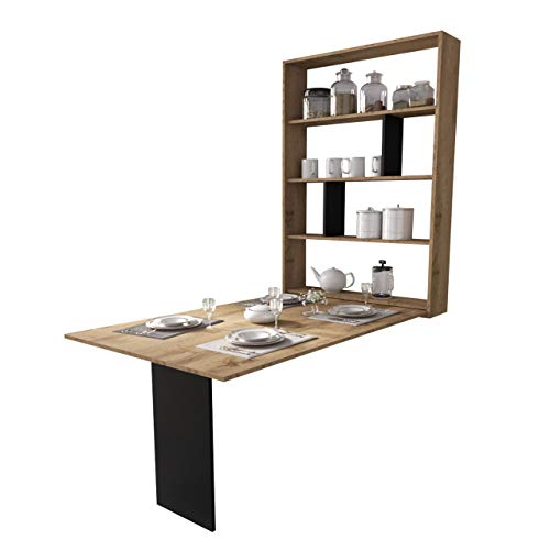 Wandtisch Albi, Wandklapptisch mit 2 Regalen, V-Tisch, Esstisch, Tisch ideal für Esszimmer, Küche, Klapptisch, Bartisch (Wotan Eiche/Schwarz)