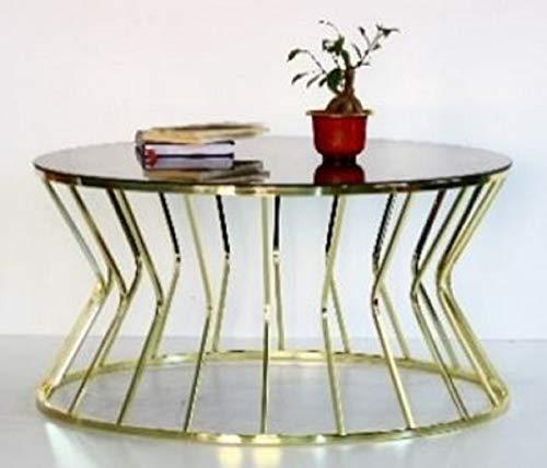 Casa Padrino Mesa de Centro de diseño Oro/Gris Ø 90 x A. 40 cm - Mesa de salón Redonda con Tapa de Vidrio - Muebles de salón de Lujo