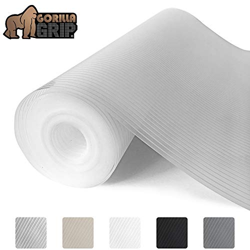Gorilla Grip Ribbed Top Drawer and Shelf Liner, Non Adhesive Roll, 17.5 Inch x 20 FT, Durable and Strong, Grip Liners for Drawers, Shelves, Kitchen...
