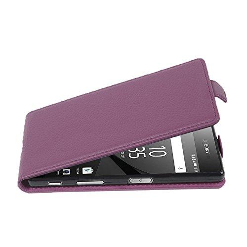 Cadorabo Hülle für Sony Xperia Z5 Premium - Hülle in Bordeaux LILA – Handyhülle aus Strukturiertem Kunstleder im Flip Design - Hülle Cover Schutzhülle Etui Tasche
