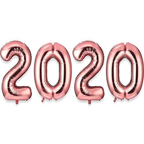 Globos Número Gigante 2020 Globos de Papel de Aluminio de 40 Pulgadas Globo Feliz año Nuevo Decoraciones de Globos Artículos de Fiesta (Oro Rosa)