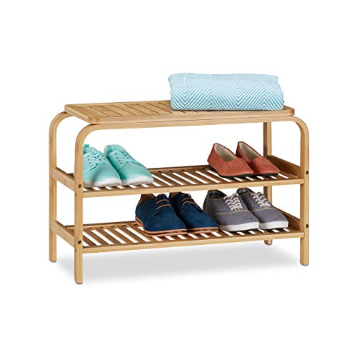 Relaxdays Schuhbank Bambus, 6 Paar Schuhe, Sitzbank Flur, Bad, 2 Ablagen, Garderobenbank HxBxT: 45 x 70 x 30 cm, natur