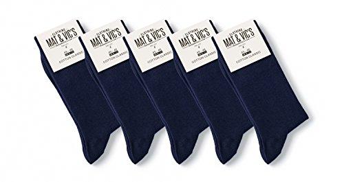 5 Paar Socken von Mat & Vic's für Sie und Ihn - Cotton classic Socks, gekämmte Baumwolle, ohne drückende Naht, Komfortbund, OEKO-TEX Standard 100, Blau (Navy), 35-38