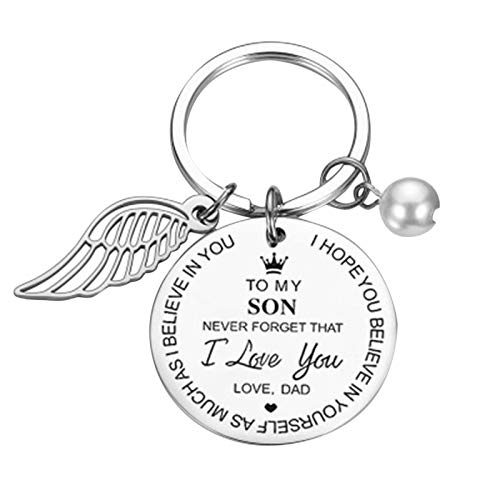 HINK Creative DIY To My Daughter And Son Stainless Steel Keychain 3x3cm Keychains Jewelry & Watches For Woman Valentine Easter Gift