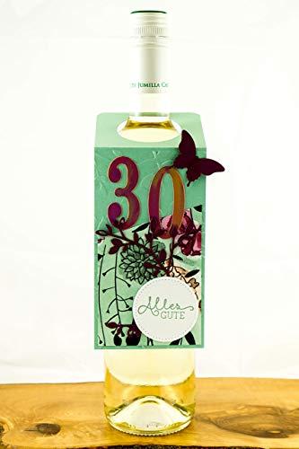 Geburtstagskarte Weinhalter Alter wählbar 40 50 60 Anhänger für Wein Glückwunschkarte Grußkarte Glückwunsch Karte zum Geburtstag Handgemachte Karten Bastelstube