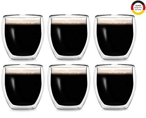 Creano doppelwandige Espresso-Gläser, 6er-Set 100ml Thermo-Gläser mit Schwebe-Effekt
