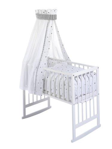 Schardt 099500002 1/679 Wiege Vario, weiß lackiert, inklusive textiler Ausstattung Sternchen, grau