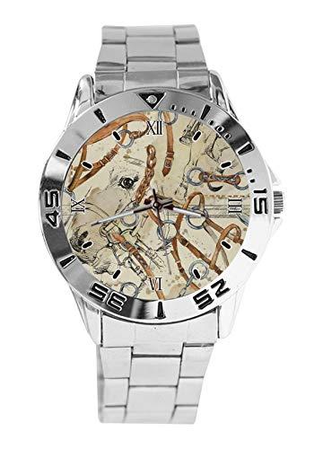 Modische Damen-Armbanduhr mit Pferde-Sattel, Sport-Armbanduhr für Herren, lässig, Edelstahlband, Analog, Quarz-Armbanduhr