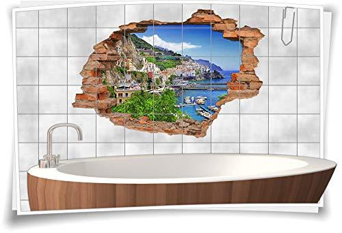 Medianlux Fliesentattoo Wanddurchbruch 3D Fliesenaufkleber Strand Reise Meer Boot Landschaft Urlaub Bad SPA, 75x50cm, 15x20cm (BxH)