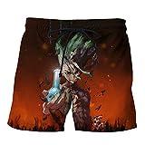 Dr.Stone Short de Bain Tronc Coton Jogger en Vrac Beach & Piscine Short Taille élastique Populaire Sauvage Style de Rugby Shorts (Color : A02, Size : Height-185cm(Tag XXL))