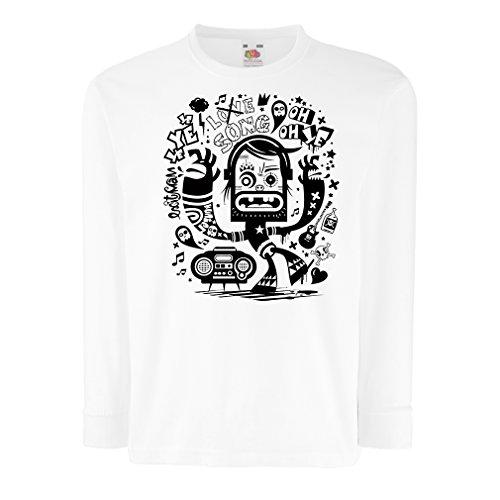 lepni.me N4360D T-Shirt pour Enfants avec des Manches Longues connaisseur Danseur (9-11 Years Blanc Multicolore)