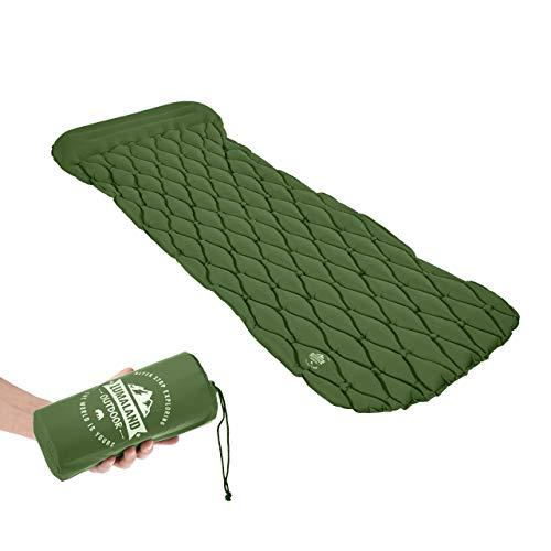 Lumaland Outdoor Campingmatte Isomatte Schlafmatte aufblasbare Luftmatratze fürs Zelt 188 x 60 x 6 cm mit Kissen Grün