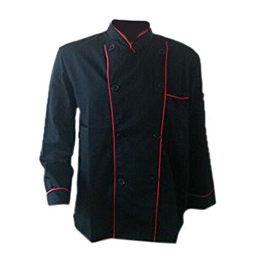 Erwachsene Männer Jungen Baumwolle Arbeitsanzug Arbeitsoveralls Kitchen Koch Kochen Ober Kellner Kellnerin Arbeit Kleidung Anzug Uniform langärmelig schwarz roter Rand L
