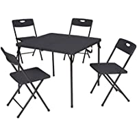 5-Piece Mainstays Resin Plastic Card Table and Four Chairs Set