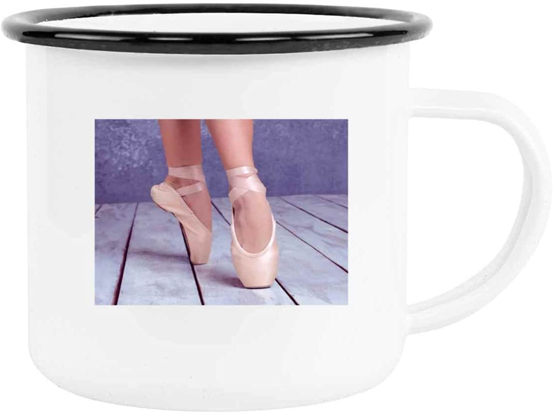 In Pointe Shoes Dance Ballet Ballet Pointe Shoe Art Ballet Shoe C40562 Present For Birthday, Anniversary, Day After Thanksgiving 12 Oz Black Rim Enamel Cup