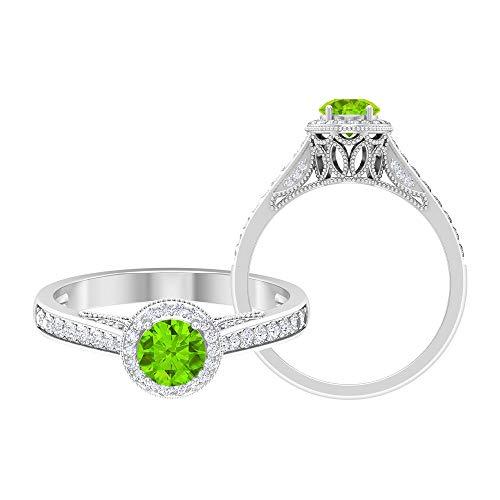 Rosec Jewels 14 quilates oro blanco redonda round-brilliant-shape H-I Green Diamond Creado en laboratorio de kryptonita