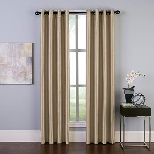"Curtainworks Malta Faux Silk Grommet Curtain Panel, 50 by 95"", Sand"