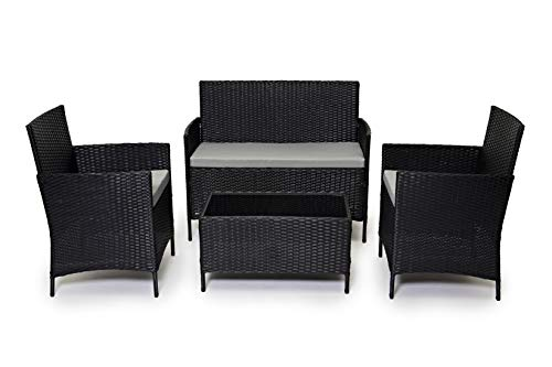 EVRE Rattan Garden Furniture Set Patio Conservatory Indoor Outdoor 4 piece set table chair sofa (Black)