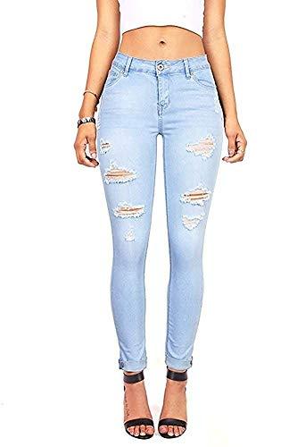Wax Denim Women's Juniors Distressed Slim Fit Stretchy Skinny Jeans (5, Light Denim)