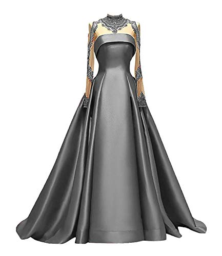 M Bridal Women's Crystals Beaded High Neck Long Sleeve Prom Dresses Satin A-line Formal Evening Gowns Grey US10 (Apparel)