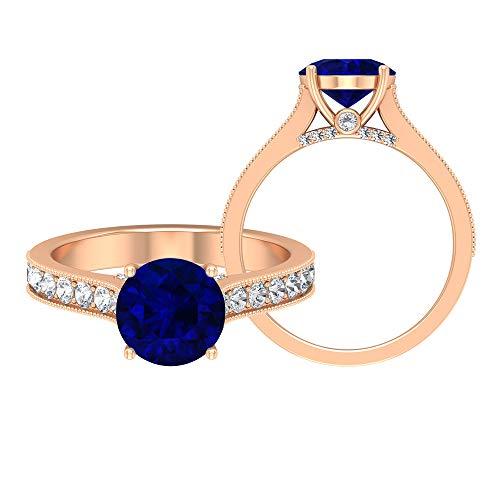 Anillo solitario creado en laboratorio de zafiro azul de 8 mm con piedras laterales, anillo de compromiso con ajuste de corona, anillos de oro macizo para mujer, 10K Oro rosa, Size:EU 66