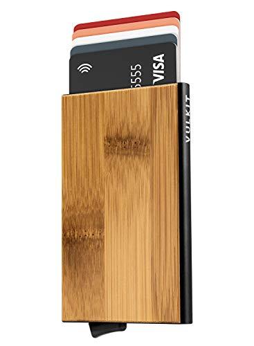 VULKIT Krediet Kaart Houder Metalen, Pop-up Kaarthouder RFID-blokkering Slanke Voorvak Bamboe Portemonnee voor 5 Kaarten, Zwart