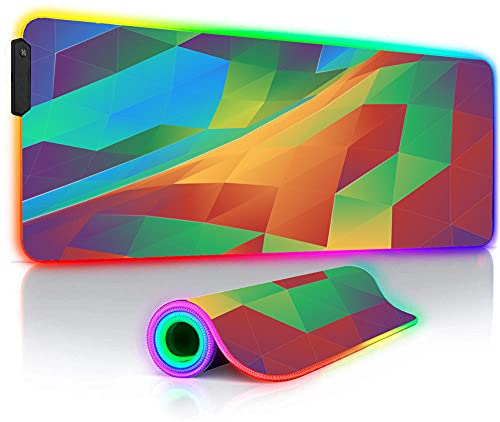 Mouse Pads Diamond Pattern Large RGB Gaming Mouse Pads Rainbow Gamer Play Mats LED Laptop Anime Keyboard Desk Mat 27.6x11.8 inches