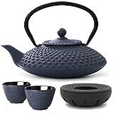 Teekanne asiatisch Gusseisen Set blau 1,25 Liter mit Tee-Filter-Sieb und Stövchen inkl. Teebecher