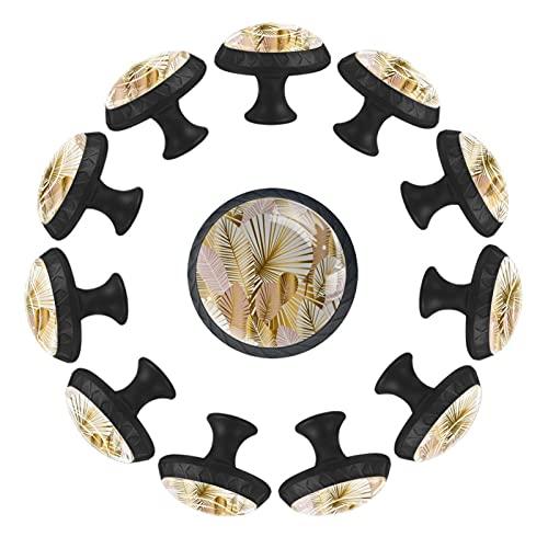 BestIdeas Paquete de 12 pomos redondos para cajón, 35 mm, hojas doradas y pálidas, para dormitorio, vestidor, guardería, sala de juegos