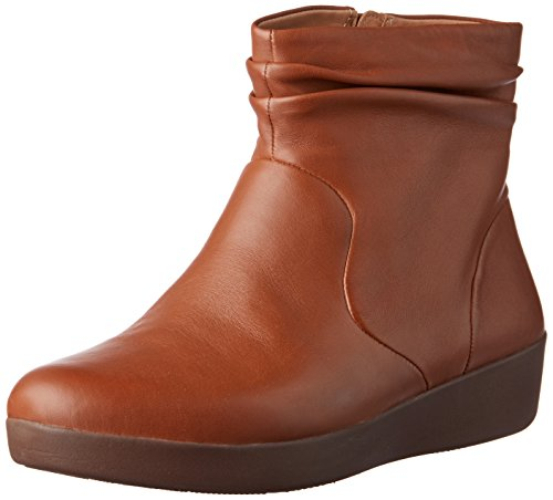 FitFlop Skatebootie-Leather, Botines Mujer, Caramelo marrón 098, 38 EU