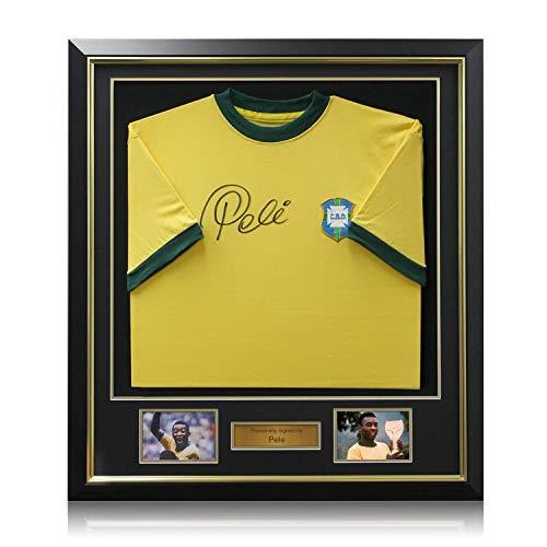 Pele Signed Brazil 1970 Soccer Jersey. Deluxe Frame   Autographed Sport Memorabilia