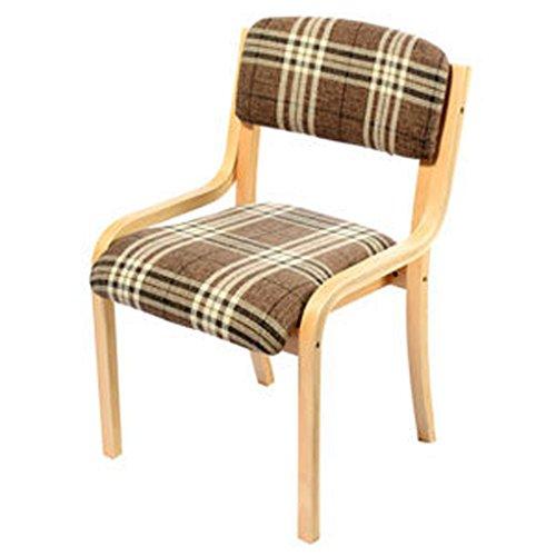 Chaises Chaises de salle à manger Chaises simples Chaises de loisirs Chaises de table à manger en tissu en bois massif lavables sédentaires à l'aise (Color : Brown)