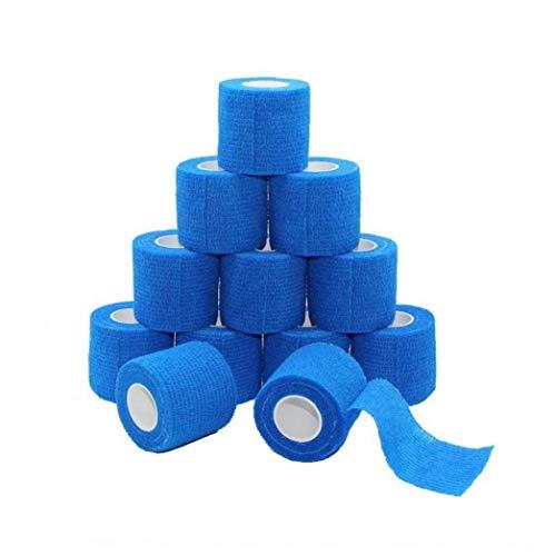 vendaje elástico protector de baloncesto tobillo deportes al aire libre cinta autoadhesiva 2pcs azul mascota envoltura veterinaria vendaje, paquete de 12, 2 pulgadas x 5 yardas, auto-adherente