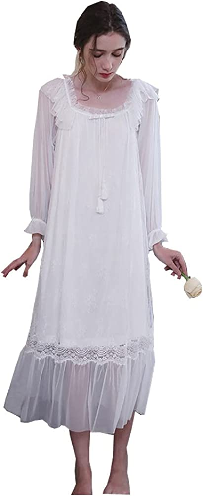 Womens' Victorian Nightgown New mail order Vintage Lace Branded goods Lo Nightdress Sleepwear
