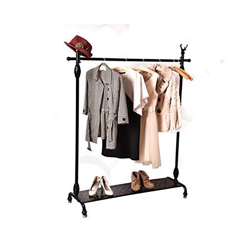 JIAO PAI Barra Horizontal para Ropa, Perchero De Metal De Pie, Estante De Exhibición De Ropa De Boutique Resistente(Color:Negro,Size:160 * 150CM)