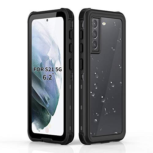BDIG für Samsung S21 Wasserdicht Hülle, 360 Grad Rundum Schutz mit Eingebautem Displayschutz Outdoor TPU Transparent Bumper IP68 Stoßfest Handyhülle Schutzhülle Kompatibel mit Galaxy S21