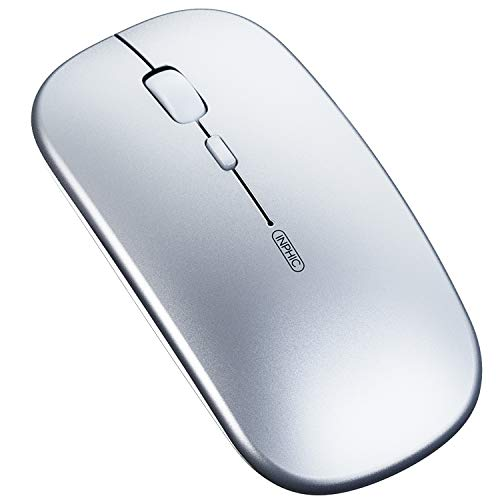 Inphic Mouse Bluetooth, Mouse Wireless ricaricabile silenzioso a tre modalità (BT 5.0/4.0 + 2.4G wireless), mouse Senza Fili da viaggio portatile 800/1200/1600 DPI per PC laptop, MacBook, argento