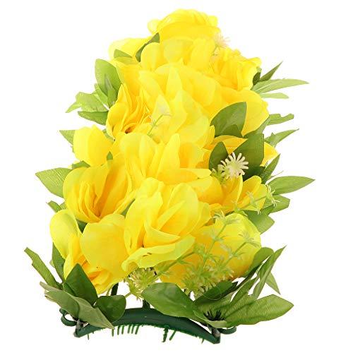 Baoblaze Künstliche Rosen Wand Blumen Grabschmuck Grab Blumengesteck Deko Blumen, DIY Blumen Säule und Hintergrund - Gelb