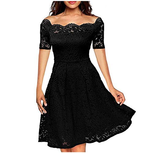 JINF Women's Sexy Lace Short Sleeve,Dress Off The Shoulder Big Swing Knee Length Dress Wedding Dresses Black