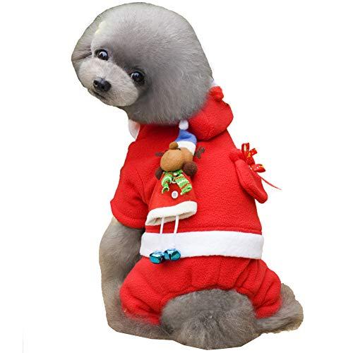 CHIYEEE Babbo Natale Costumi per Cani Gatti da Compagnia Halloween Divertente Abbigliamento Feste Vestire Cappotto per Cani Gatti Animali S