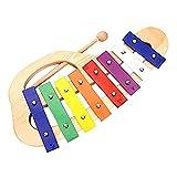 zhengowen Xilófono Mano Knock Xylophone Glockenspiel con Maletas 8 Tonos Colorido Instrumento Musical Musical...
