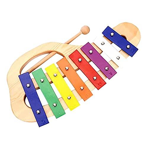 QiHaoHeji Xilófono Mano Knock Xylophone Glockenspiel con Maletas 8 Tonos Colorido Instrumento Musical Musical Instrumento Preescolar Juguete Educativo (Color : Colorful, Size : One Size)