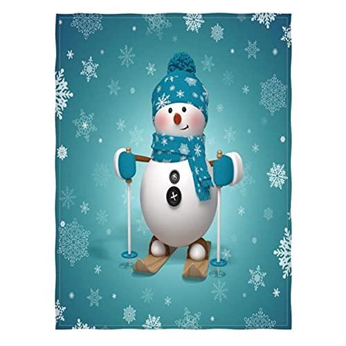 Manta de muñeco de Nieve para Cama, sofá, Dibujos Animados, esquí, muñeco de Nieve, Manta, súper Suave, Ligera, cálida, Manta para niños 150 * 200Cm