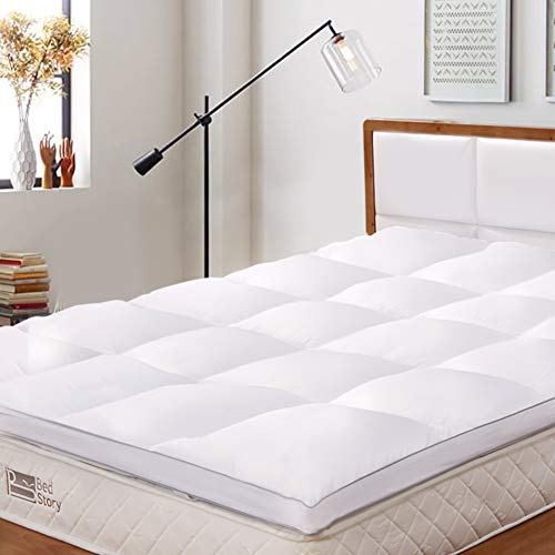 BedStory Mattress Topper King Size, Hypoallergenic Microfiber Mattress Topper 2.3 Inch thick, Hotel Quality Bed Topper 150x200 cm