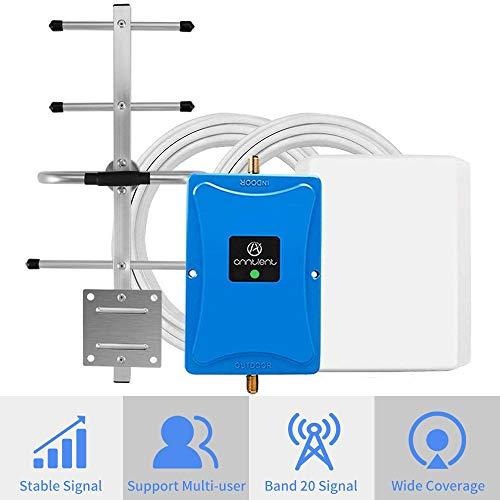 ANNTLENT 4G LTE Handy Signalverstärker Booster 800MHz (Band 20), 70 dB, Daten Verbessern, Hoheleistung, für Haus und Büro.
