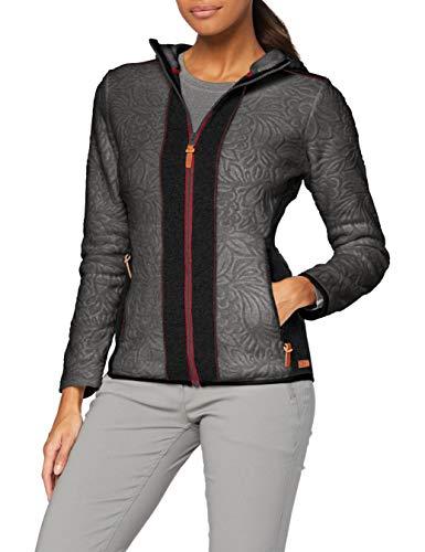 CMP Giacca in pile con cappuccio e dettagli in lana, Donna, Antracite Mel, 40, Antracite Mel.