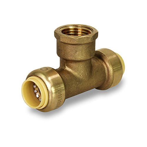 Everflow Supplies Pushlock Female Center Tees UPCTF34 Push x Push X Female 3/4 Inch Quick & Easy Installation with Corrosion Resistant To Improve Longevity, Connects Copper, CTS CPVC & PEX Pipes