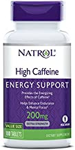 Natrol High Caffeine Tablets, Energy Support, Helps Enhance Endurance and Mental Focus, Caffeine Supplement, Fatigue, Pre-Workout, Extra Strength, 200mg, 100 Count
